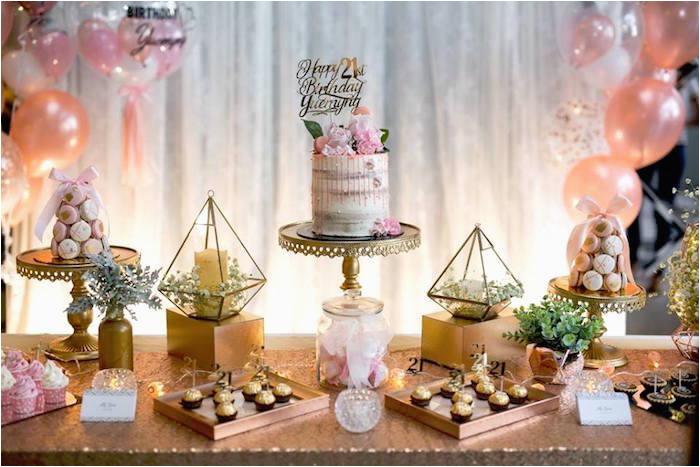 21 Birthday Table Decorations Kara 39 S Party Ideas Elegant 21st