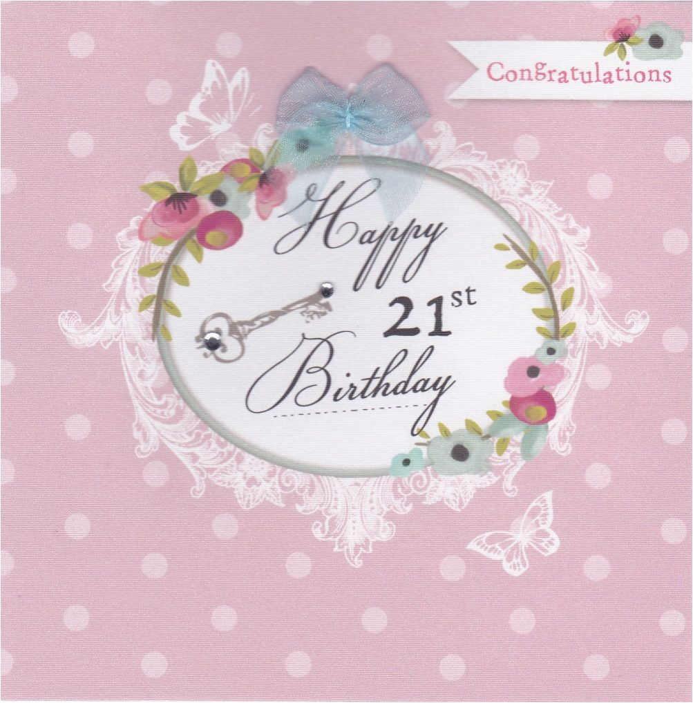 21st Birthday Cards for Her Flowers and Key 21st Birthday Card Karenza Paperie