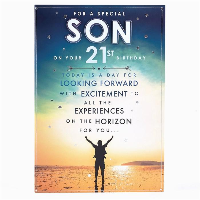 21st birthday card special son beach scene card factory