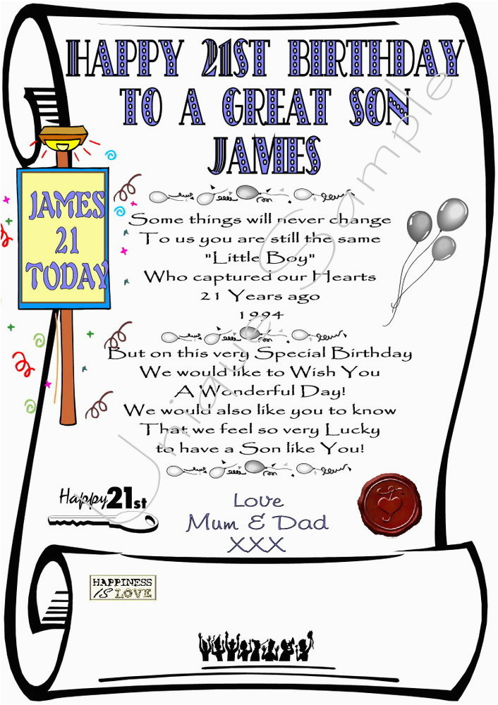 gift for 21st birthday son personalized laminated card