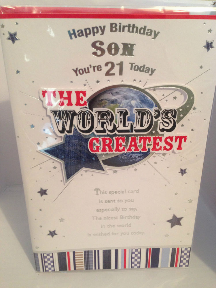 21st Birthday Cards For Son Happy Card Worlds Greatest Large Size
