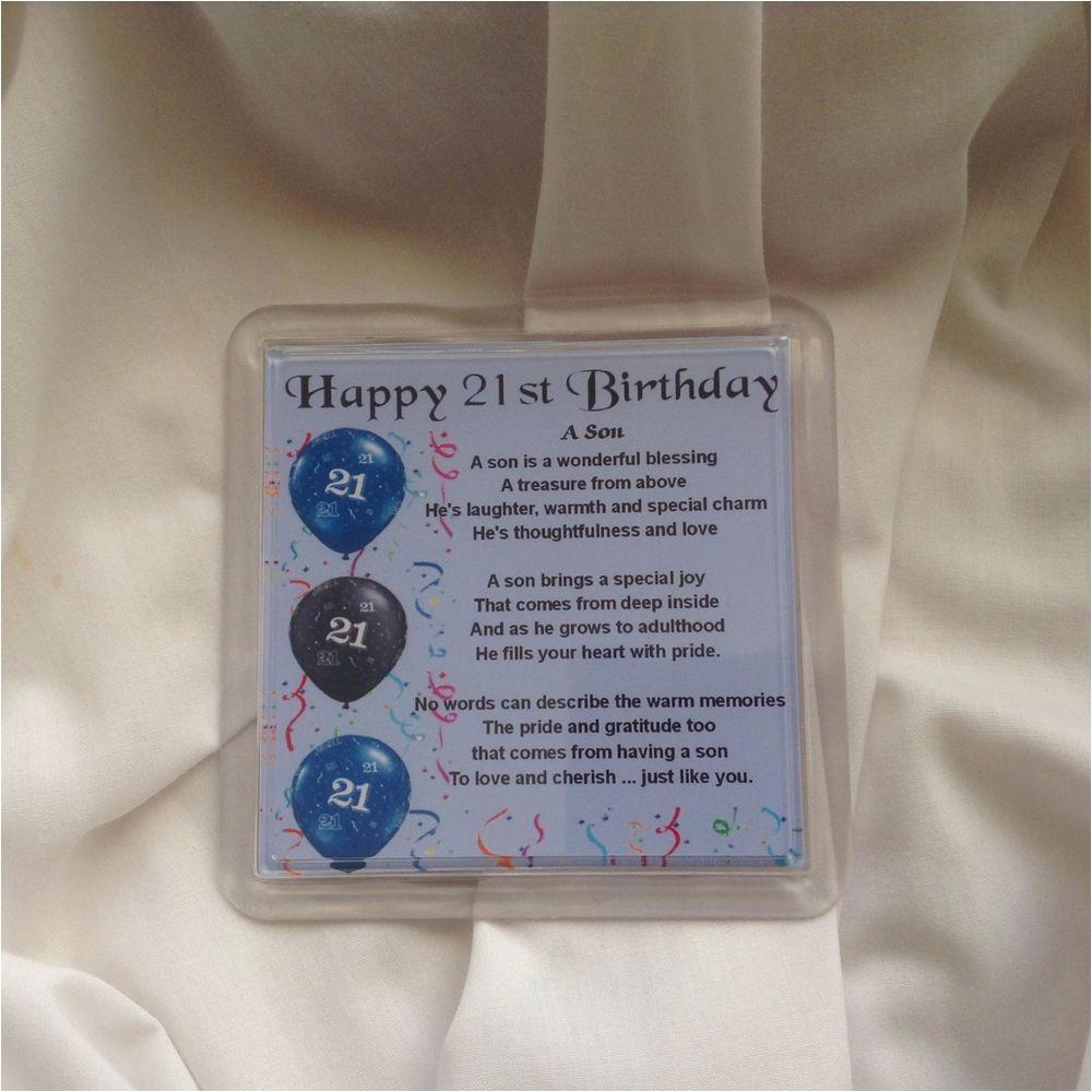 personalised coaster son poem 21st birthday free