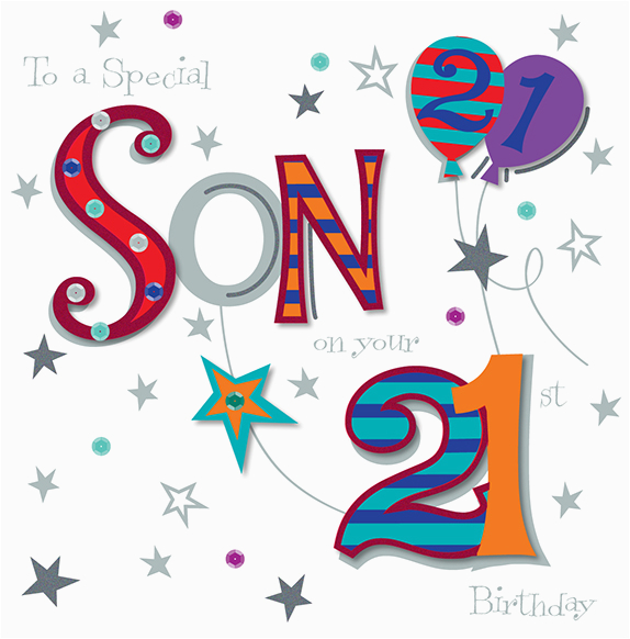 son on your 21st birthday greeting card cards