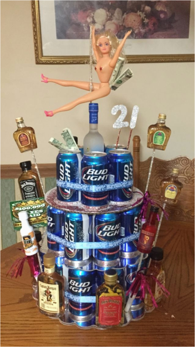 21st Birthday Decorations For Guys Beer Can Cake Craft