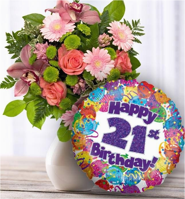 21st Birthday Flowers Delivered And Balloon Available For Uk Wide