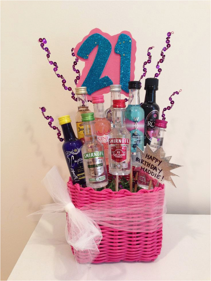 21st Birthday Gift Basket Ideas For Her My Baskets Pinterest