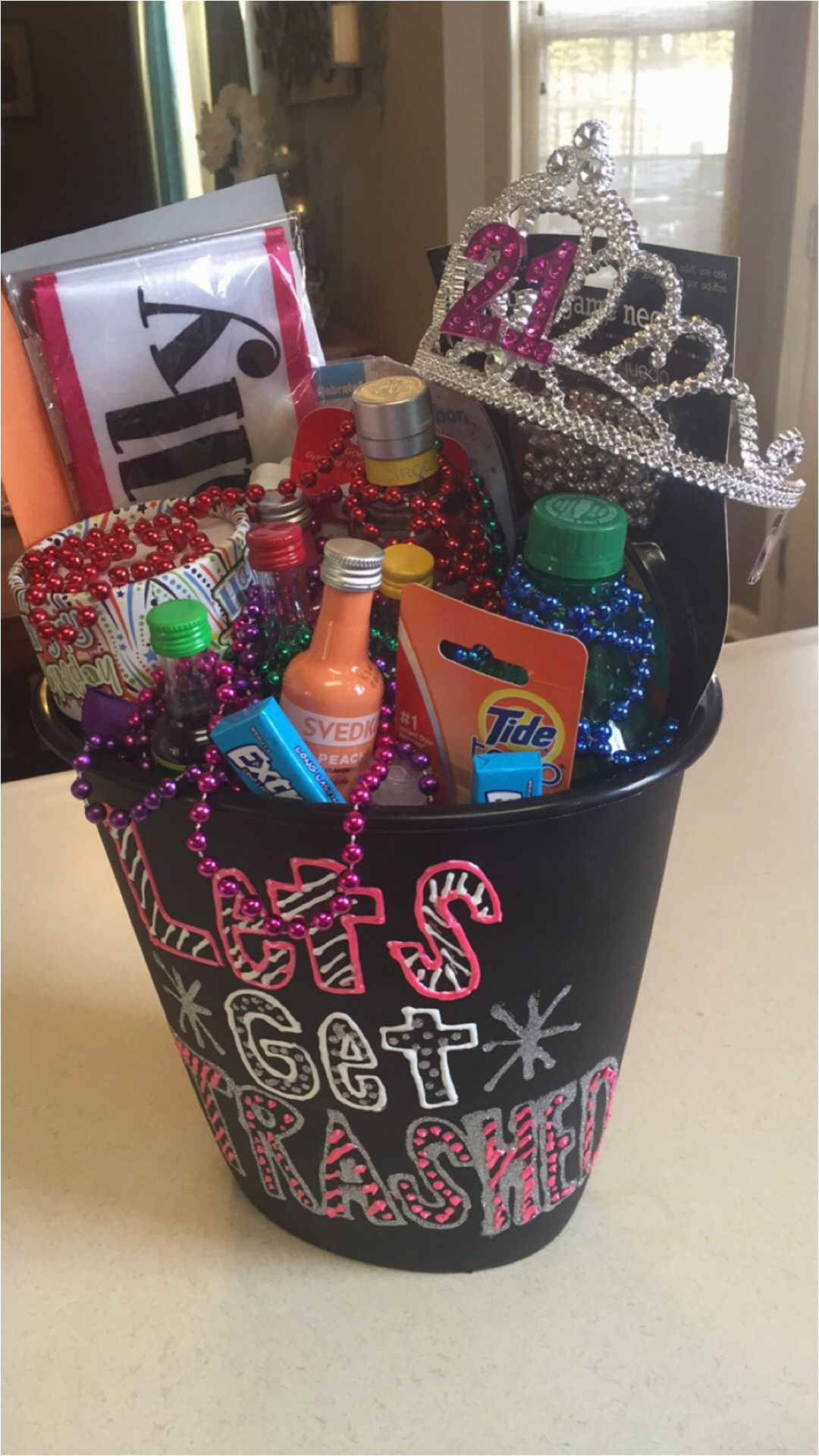 21st Birthday Gift Baskets For Her In A Trash Can Saying Quot Let