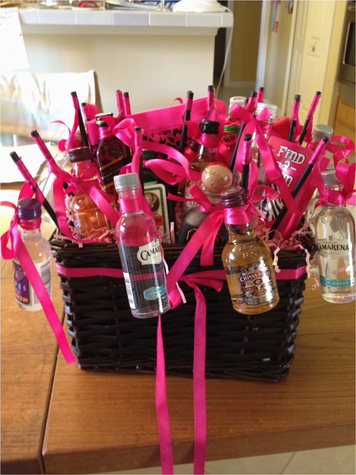janie from scratch crafts bachelorette basket of booze