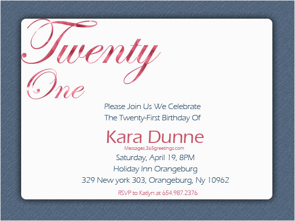 21st Birthday Invitation Wording Samples Invitations 365greetings Com
