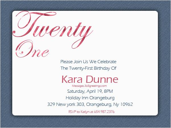 21st Birthday Invitation Wording Samples Invitations 365greetings Com