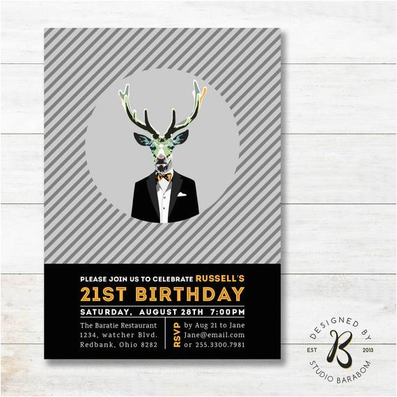 21st Birthday Invitations Male Invitation Adult For