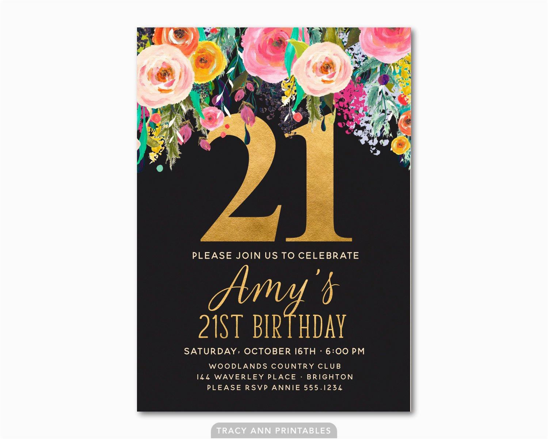 21st Birthday Invitations Templates Invitation Floral Invite