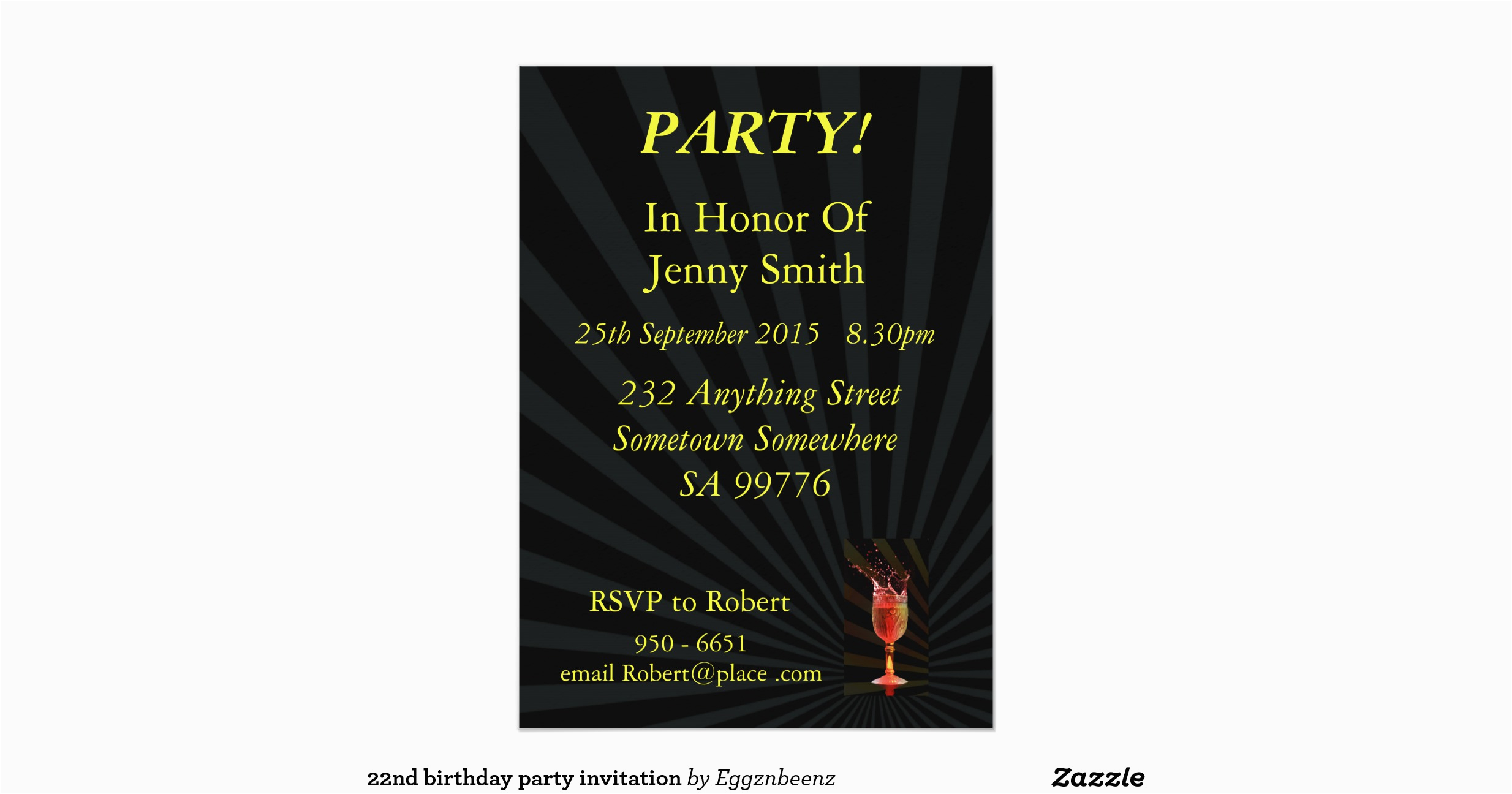 22nd Birthday Party Invitations 22nd Birthday Party Invitation Zazzle