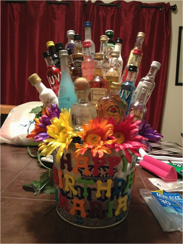maria 39 s 23rd birthday shot gift basket shot bottle gift