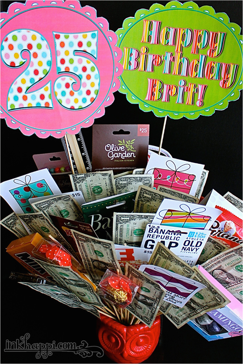 25th Birthday Gift Ideas For Her Basket Idea With Free Printables Inkhappi