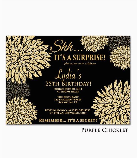 25th birthday invitation surprise