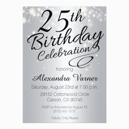 25th birthday invitations silver sparkly invites 256625156256220762