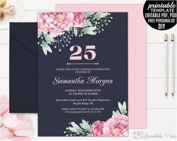 25th Birthday Invite Navy Invitation Template Printable Pink