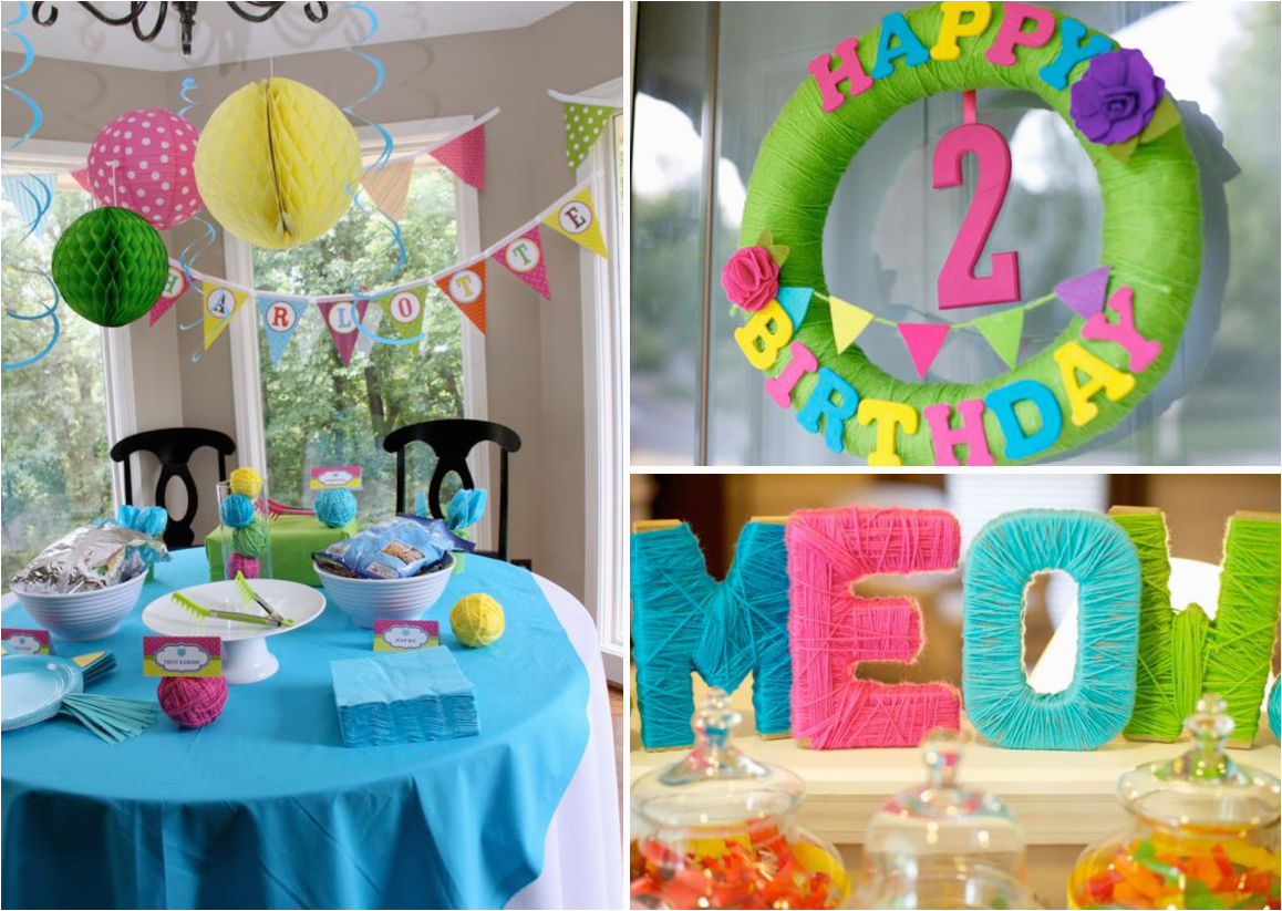 cat themed 2nd birthday party