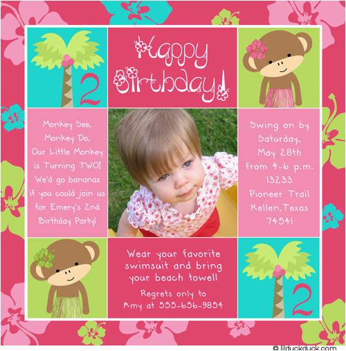 2nd Birthday Invitation Wording Samples Invites Invitations Printable