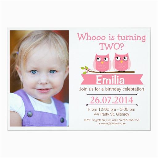 2nd Birthday Invitation Wording Samples Girls Photo Owl