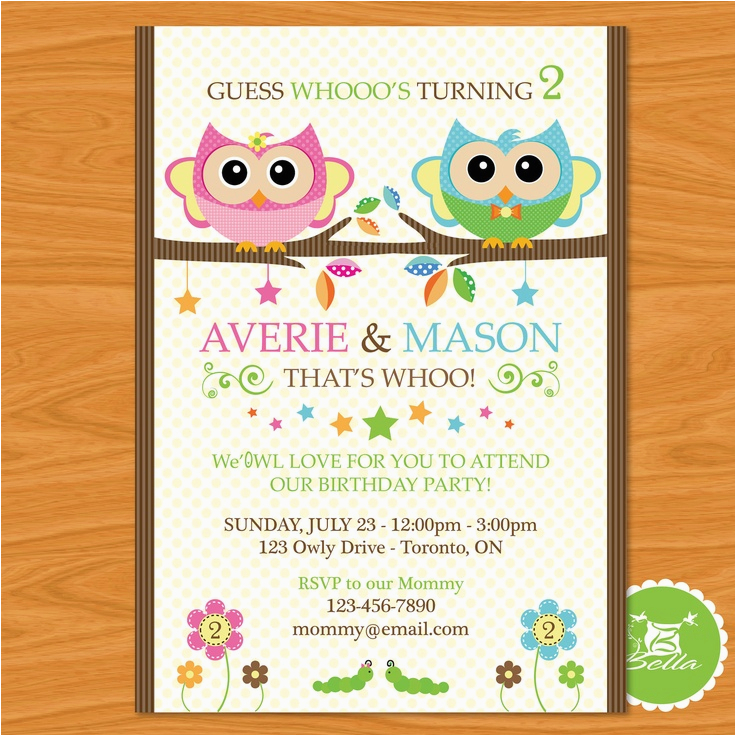 2nd Birthday Invitations For Twins 58 Best Ideas Images On Pinterest Owl