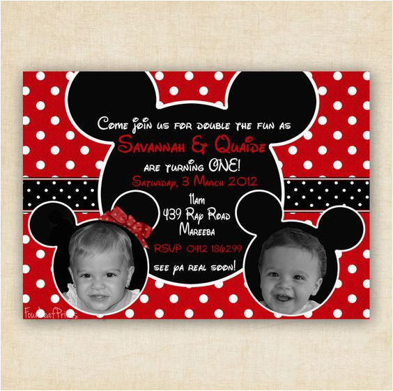 2nd Birthday Invitations For Twins Mickey And Minnie Mouse Twin