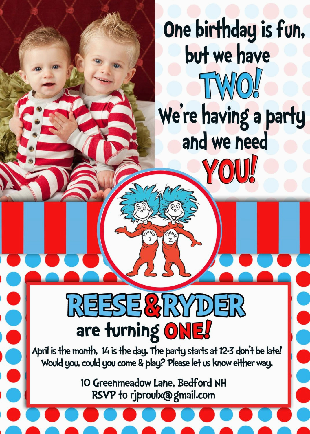 thing one thing two birthday invitations