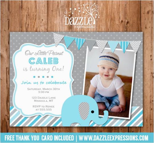 boy elephant first birthday photo invitation blue and