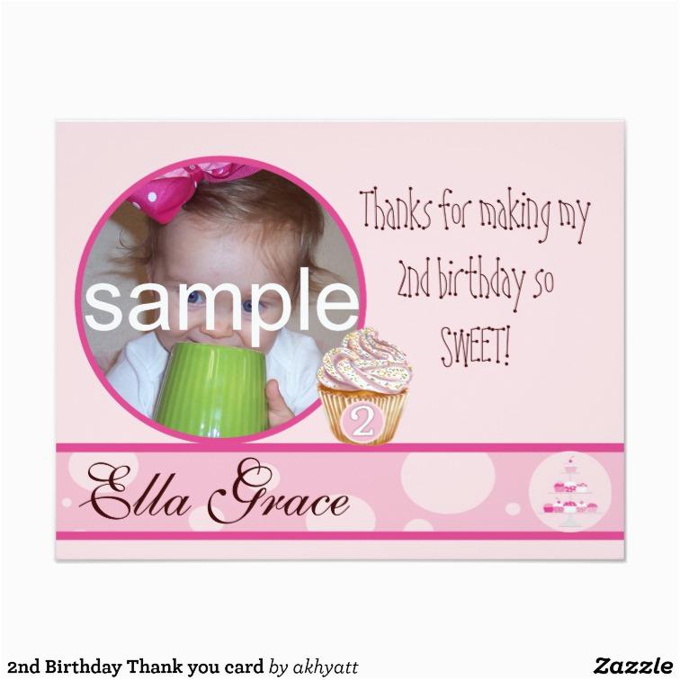 2nd birthday thank you card zazzle