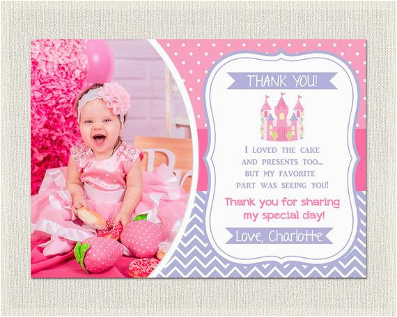 princess thank you card birthday pink purple 1st 2nd 3rd