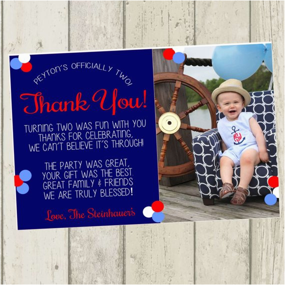 second birthday thank you card nautical thank you card