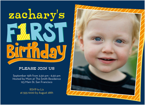 3 Year Old Boy Birthday Party Invitations Of Firsts 5x7 Photo Card