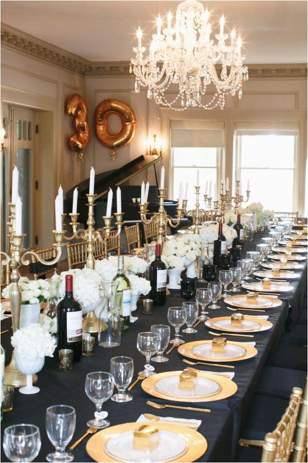 black gold 30th birthday party
