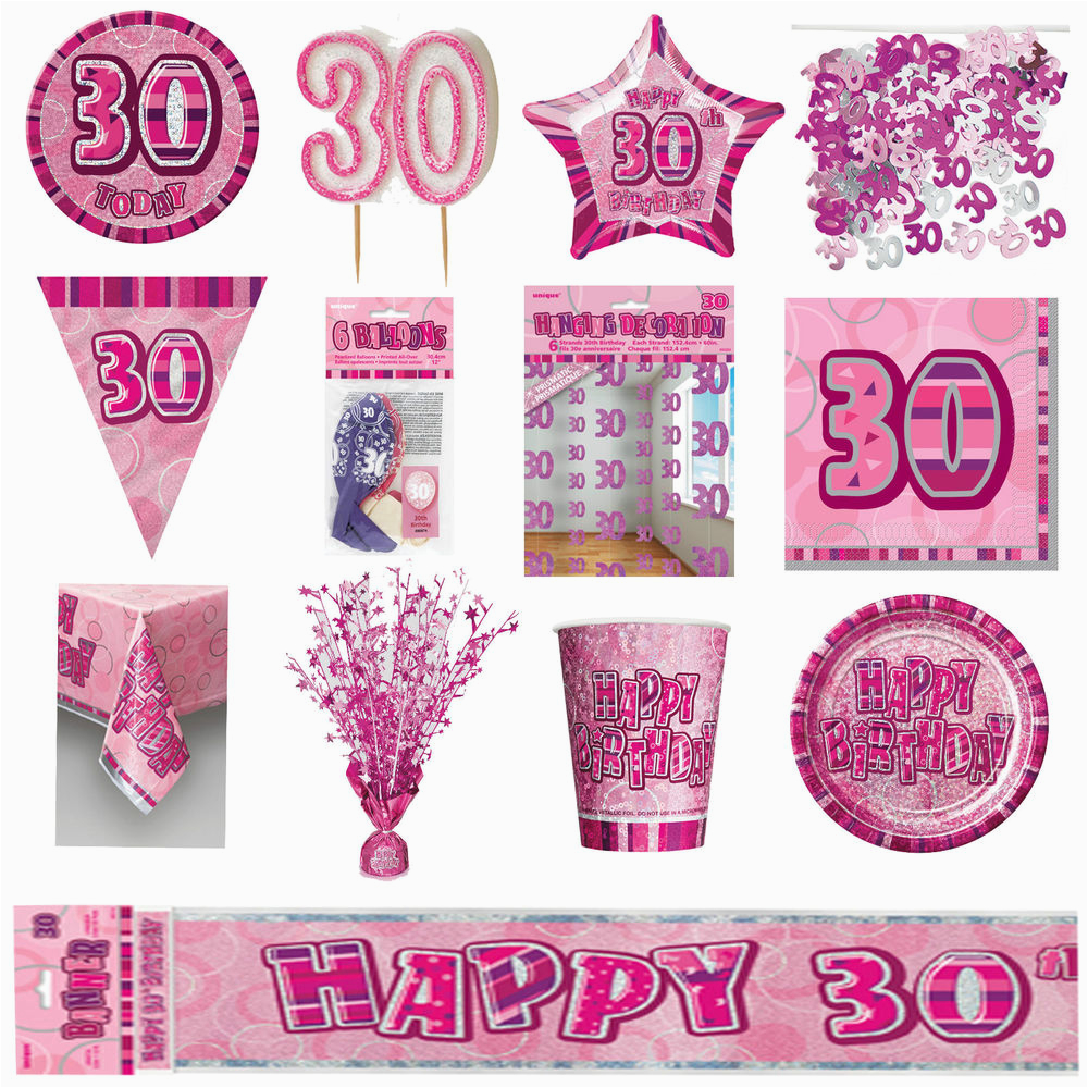 30th Birthday Decorations Pink Glitz Party