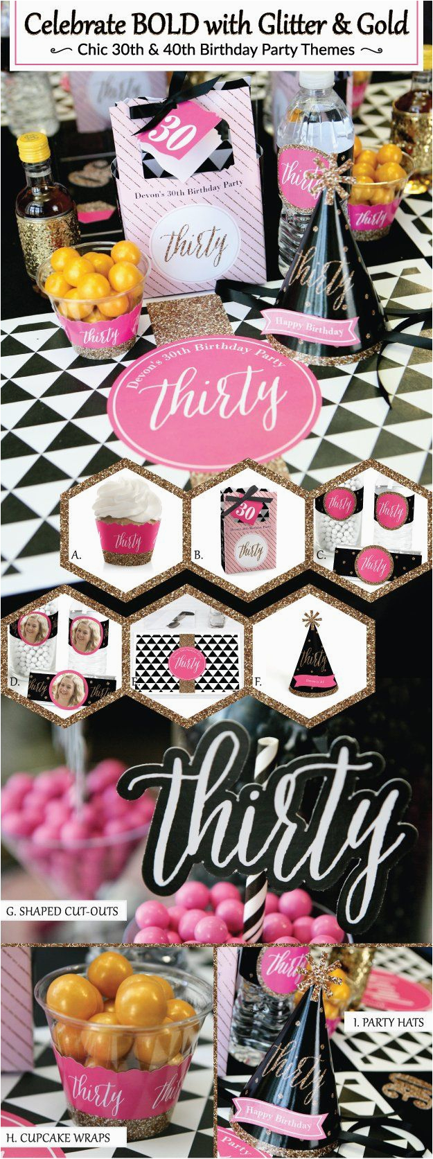 30th Birthday Decorations Pink Chic Party Black Theme
