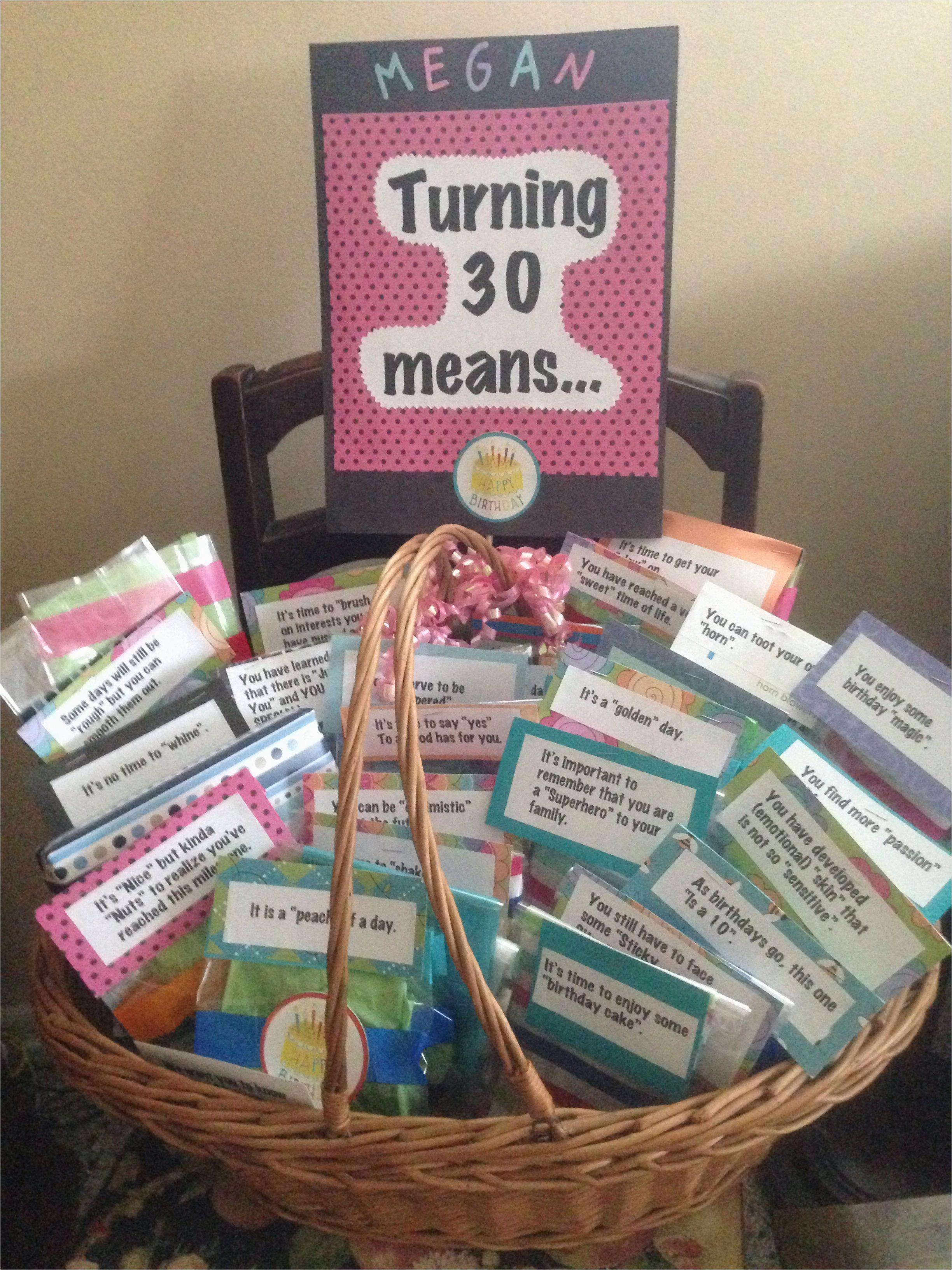 30th Birthday Gift Baskets For Her Turning 30 Basket Pinterest