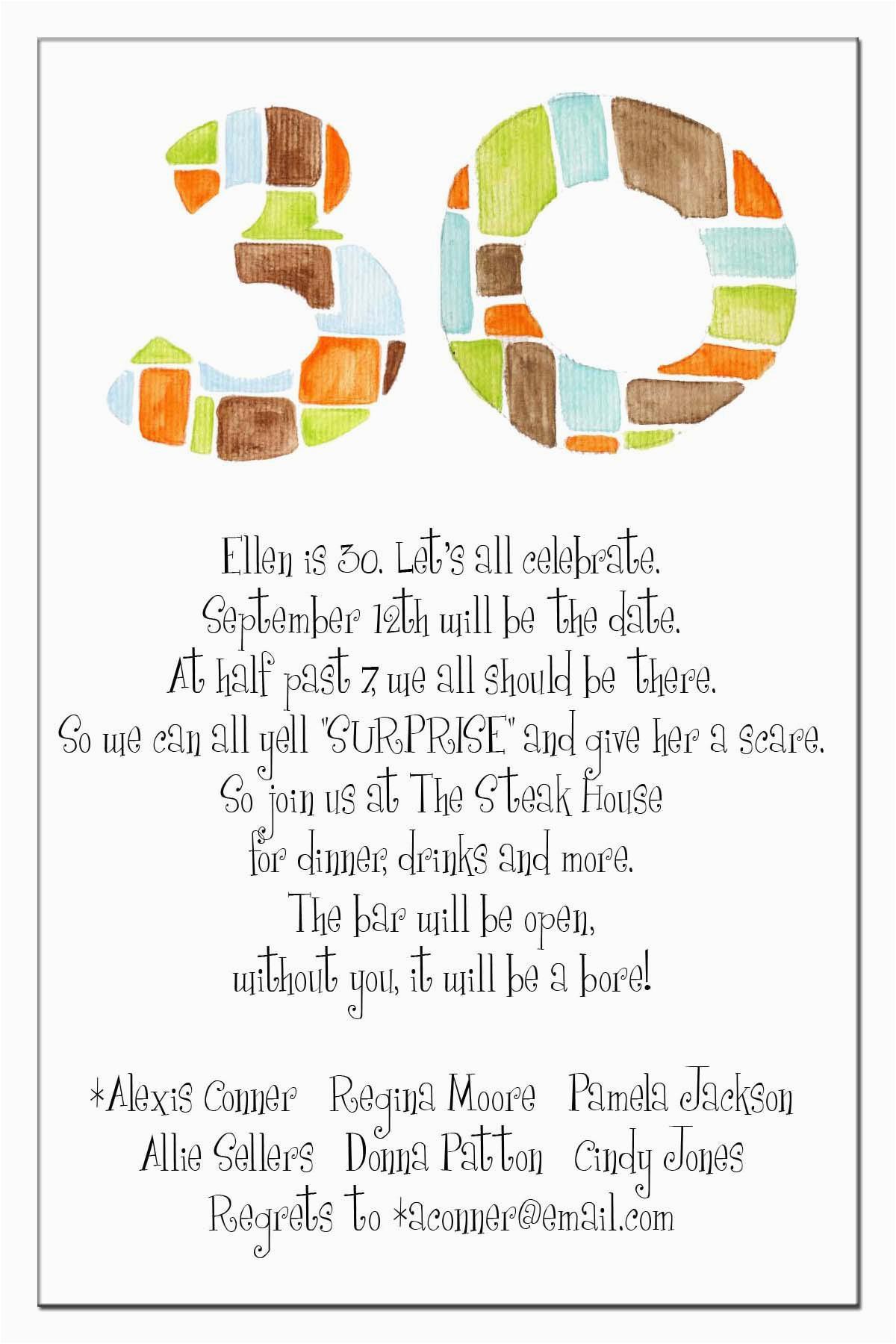 30th Birthday Invitation Sayings 20 Interesting Invitations Themes Wording