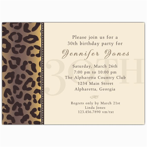 30th Birthday Invitation Sayings Cheetah Invitations Paperstyle