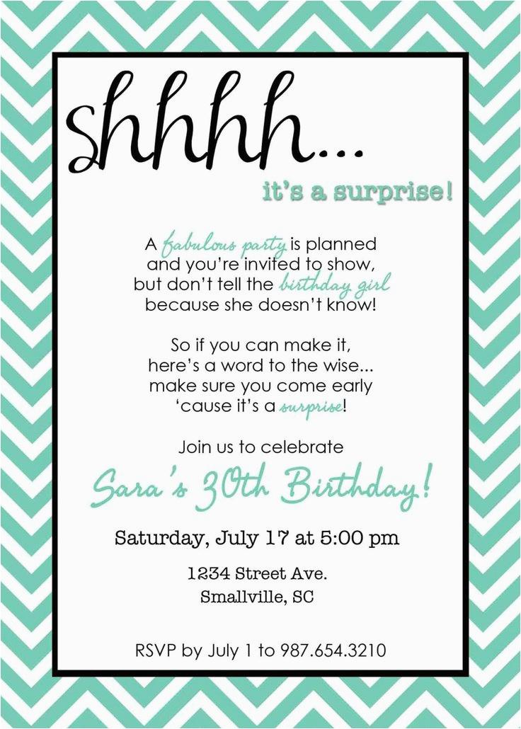 30th Birthday Invites Wording Surprise 30th Birthday Invitation Samples