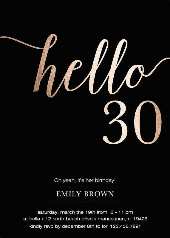 30th Birthday Party Invitations For Her Invitation Modern Gold Foil Hello 30 By