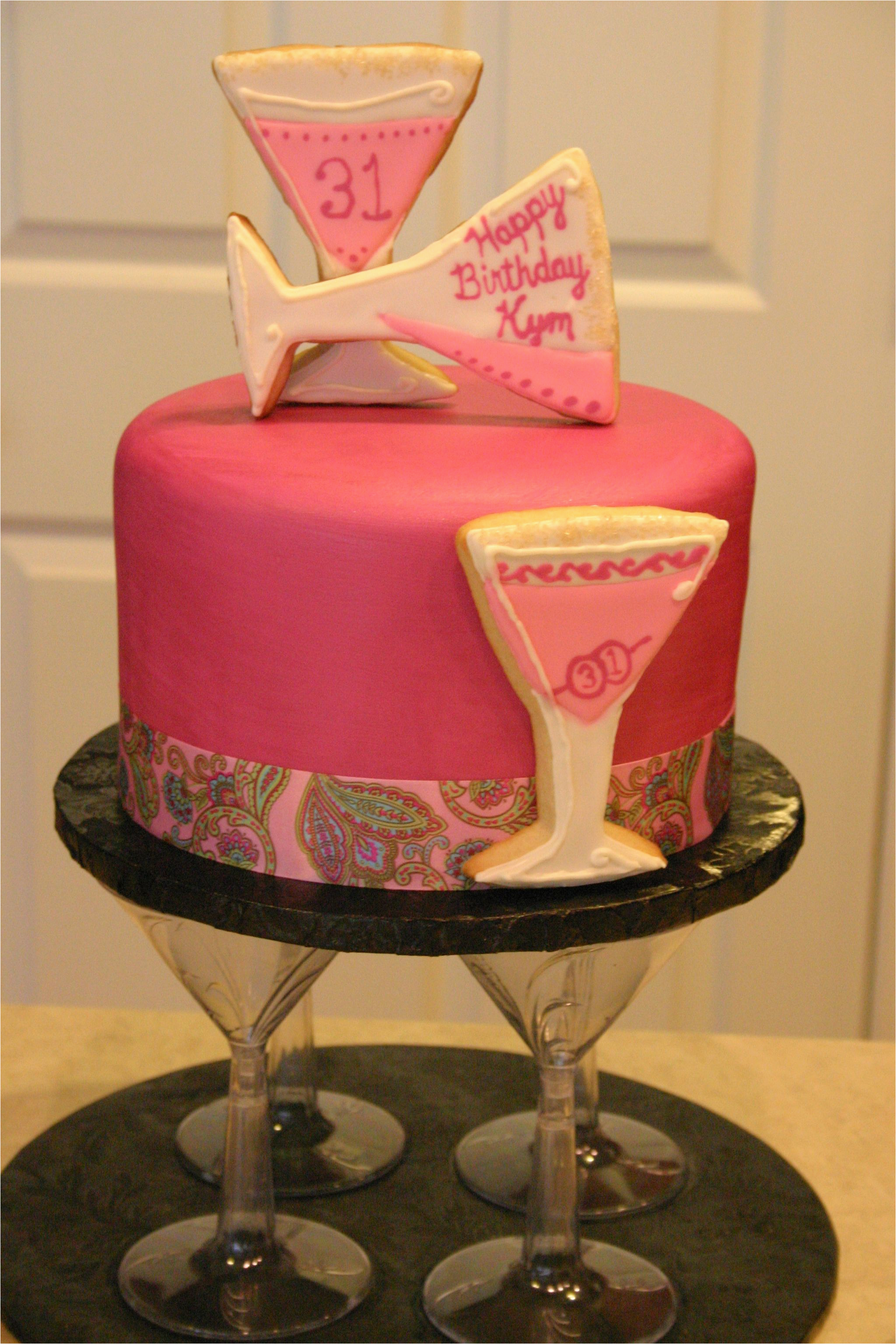 31st Birthday Decorations Pink and Magenta Martini themed Cake the Client Wanted A