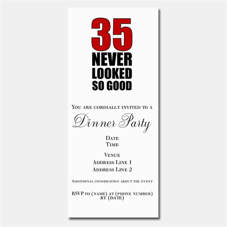 35th Birthday Invitations 35th Birthday Invitations For 35th