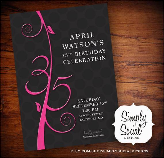 35th Birthday Invitations Items Similar To Invitation On Etsy