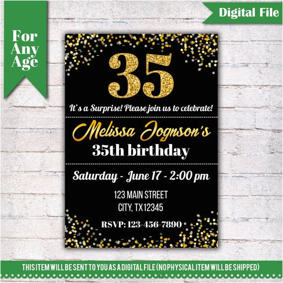 35th birthday invitation birthday party