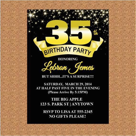 35th birthday invitation black and gold