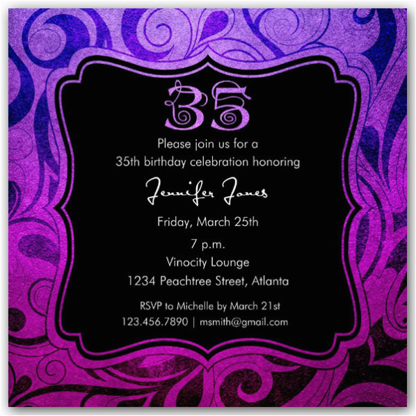 brilliant emblem 35th birthday party invitations p 615 55 261