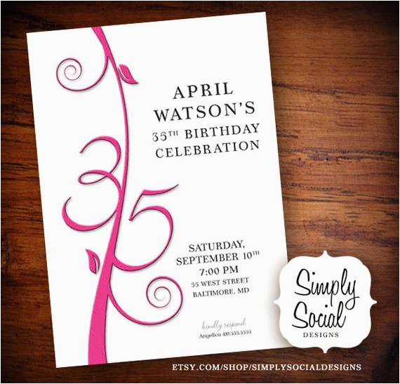 35th Birthday Party Invitations Items Similar To Invitation On Etsy