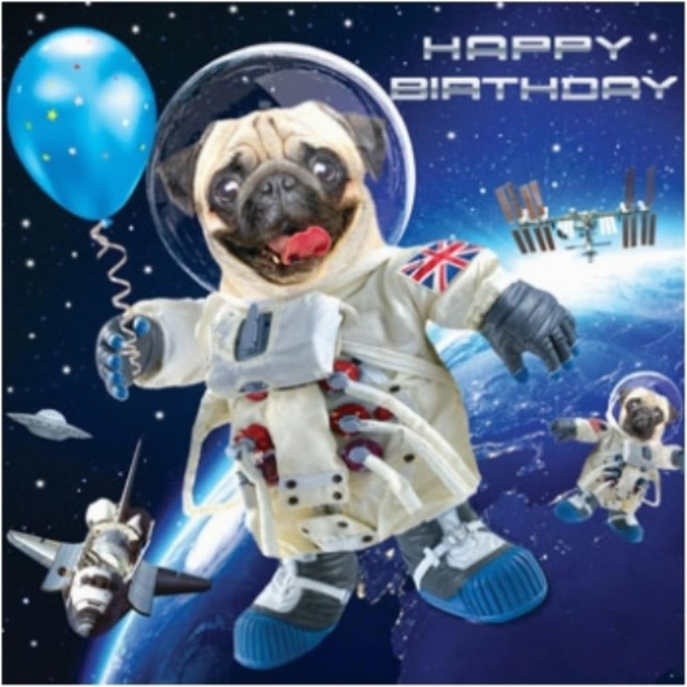 kctrc1760 3d holographic pug in space birthday card square greeting cards