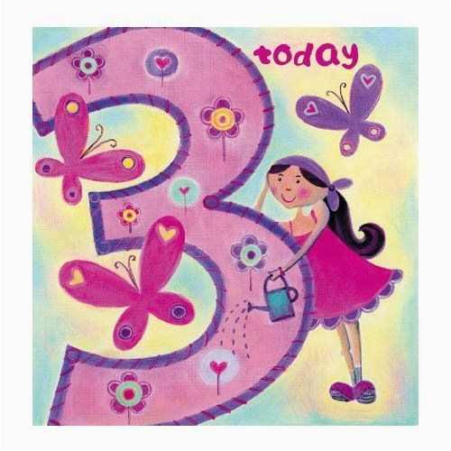 3rd Birthday Card Girl Age 3 Happy 3rd Birthday Card for Girls by Sugarushuk